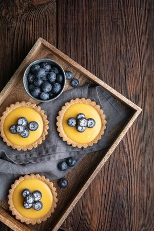 Walnut crust Tartlet with lemon curd filling, topped with fresh blueberries and sprinkled with powdered sugar on rustic wooden background
