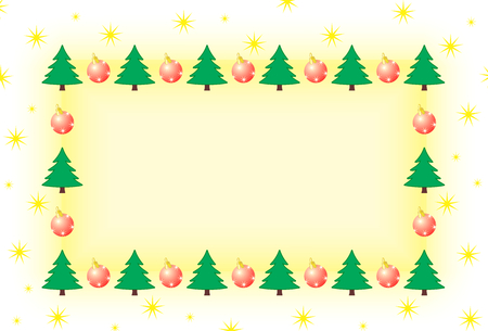 frame with tree and christmas ornament surrounded by stars