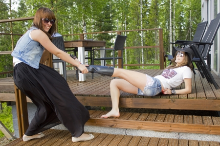 Two females on the terrace