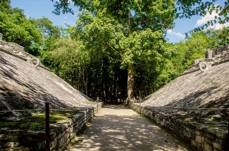 Mayan ballgame court at Coba, Mexico Stock Photo
