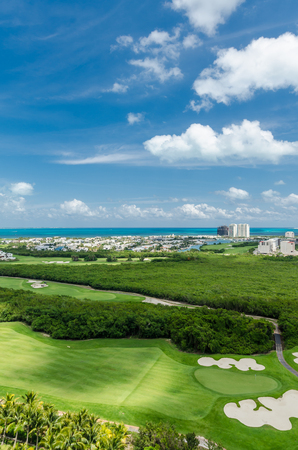 Golf course scenic view from a building