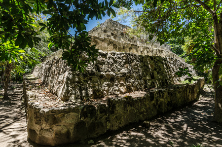 Ancient mayan structures of San Miguelito, Cancun, Mexico.