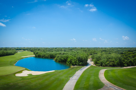 Golf club facilities of a luxury resort in the caribbean 免版税图像