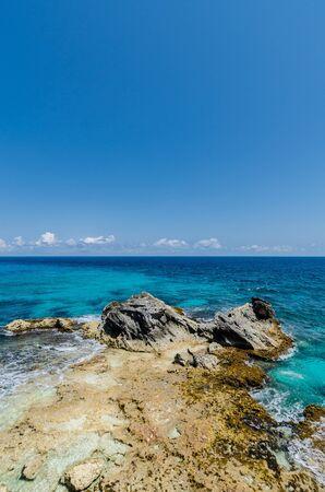 rocky cliffs at Isla Mujeres, Cancun Stock fotó