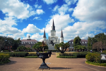 Full view of Jackson square in New Orleans, Louisiana