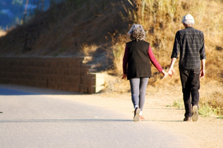 Senior couple walking hand in hand 免版税图像