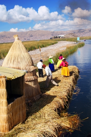 Peru, floating Uros islands on the Titicaca lake  Peruvian andes