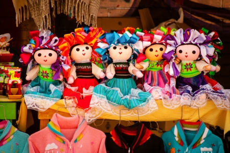 Sell of beautiful colorful mexican dolls in Xohimilco, Mexico. Stok Fotoğraf