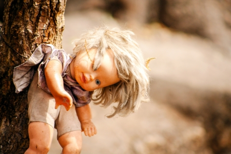 Creepy doll hanging of a tree at Xochimilco, Mexico.