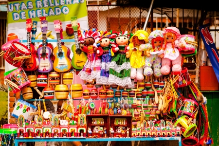 Sell of beautiful colorful mexican toys in Xohimilco, Mexico.
