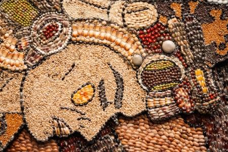 Prehispanic mosaic from seeds and grains