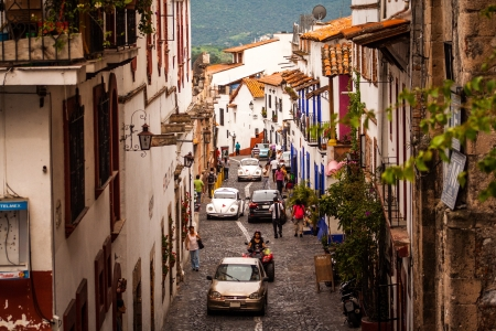 Picture of the street at the colorful town of Taxco, Guerrero  Mexico