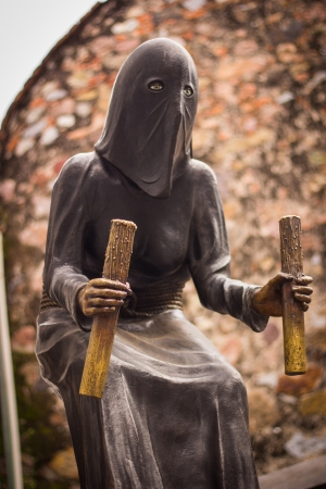 monk robe: Medieval monk sculpture Stock Photo