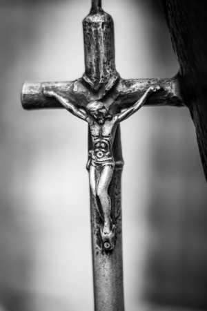 catholicism: Picture of old steel chatolic cross  Stock Photo