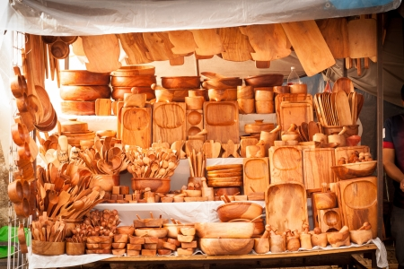 Wood Traditional Kitchen Utensils Street Market Store At Tepoztlan, Mexico  Stock Photo   21411156