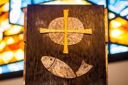 pez cristiano: Símbolo de Jesús Fish  Foto de archivo