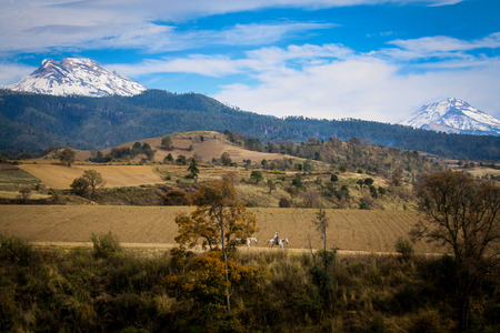 Landscape photo of popocatepetl and iztaccihuatl volcanoes in central mexico
