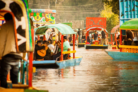 Colourful Mexican gondolas at Xochimilco