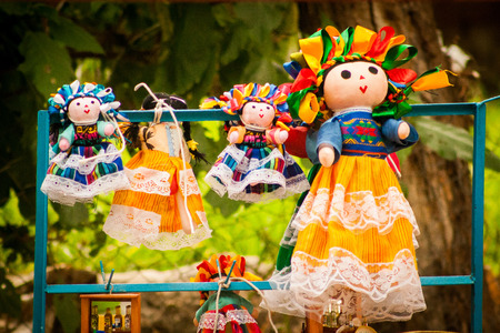guadalupe island: Colorful Lupita Dolls named after Guadalupe Janitzio Island Patzcuaro Lake Mexico Stock Photo