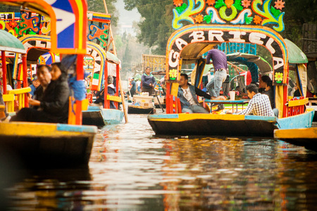 Colourful Mexican gondolas at Xochimilco