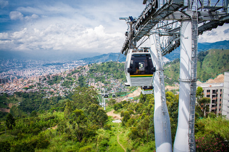 Gondola Ropeway city landscape. Medellin Colombia cable car 新闻类图片