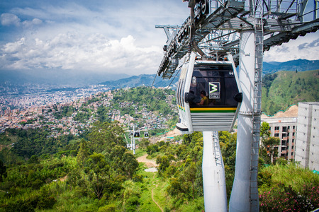 comuna: Gondola Ropeway city landscape. Medellin Colombia