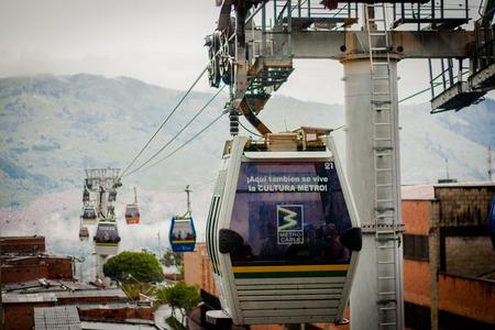 comuna: Gondola Ropeway city landscape. Medellin Colombia cable car Editorial