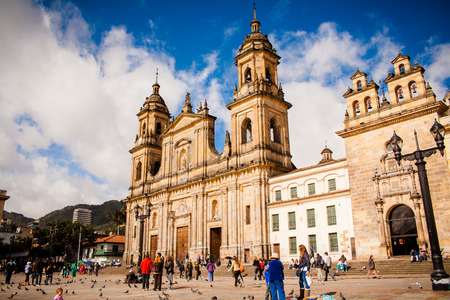 colombia: Bolivar Simon Square and the Cathedral in Bogota, Colombia. Candelaria