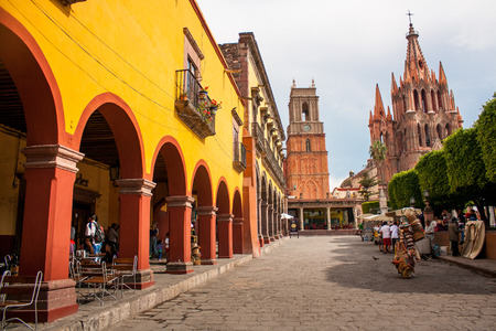 at town square: La Parroquia, the famous pink church in the picturesque town of San Miguel de Allende, Mexico.