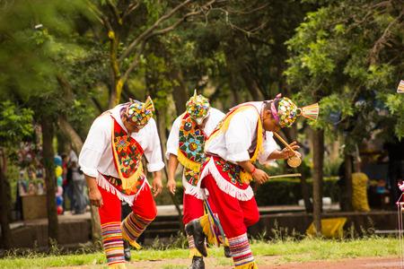guatemala: Native tribe mexican voladores de papantla dancing playing