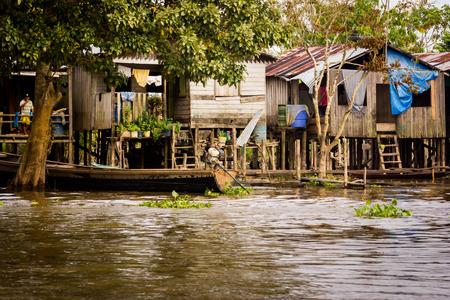 rio amazonas: Casas en Amazon Jungle River Foto de archivo