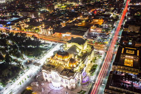 Aerial view of Mexico City, light trails and Bellas Artes