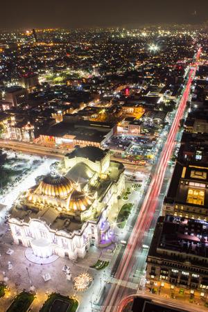 city light: Aerial view of Mexico City, light trails and Bellas Artes