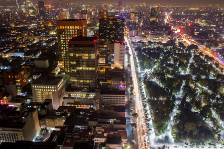 Aerial panoramic view of Mexico City with light trails