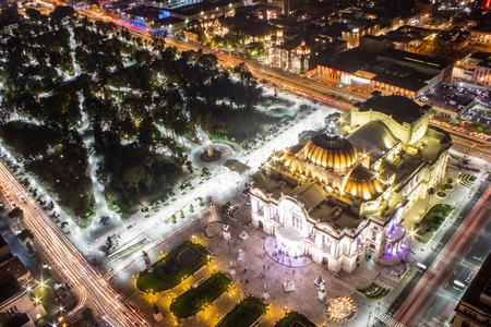 palacio: Aerial view of Mexico City, light trails and Bellas Artes