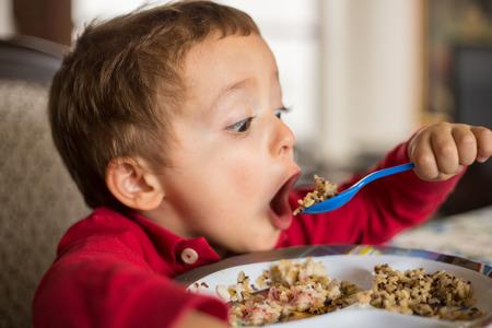 niña comiendo: Pequeño niño niño comiendo arroz integral y la quinoa.