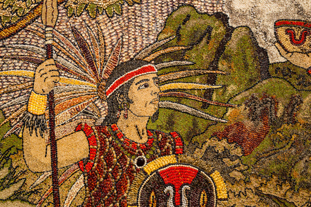 mercado central: Prehispanic mosaic from seeds and grains.