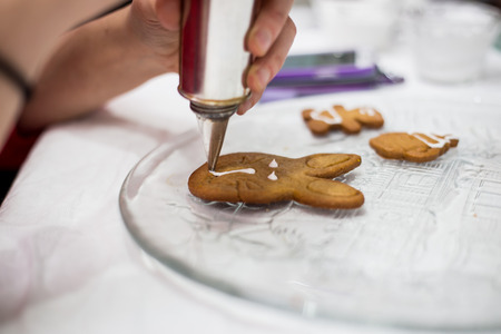 sweet pastries: the process of making biscuits, shortbread dough raw, cut shape, sweet pastries, hand.