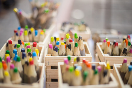 merchant: Close up of rough pencils made with organic wood. Stock Photo