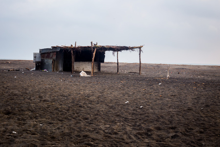 poverty: Poor huts of the natives, traditional mexican poor house - shack on beach.