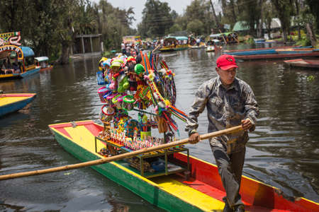 Mexico City, Mexico, August.22. 2015: Colourful Mexican gondolas at Xochimilco's Floating Gardens in Mexico City.