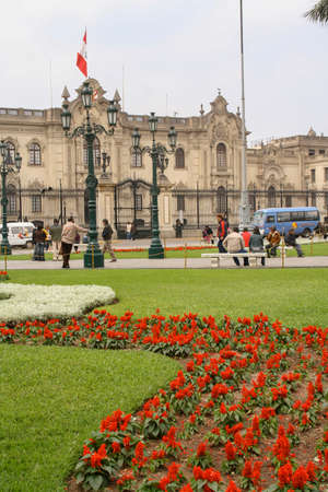 Lima, Peru, September.13. 2009: Government Palace , Residence of the President ,known as House of Pizarro in the Historic Centre of Lima, Unesco World Heritage Site. Éditoriale