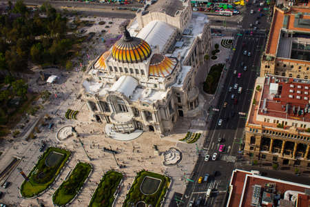 Aerial view of mexico city palace of fine arts - Bellas Artes. Éditoriale