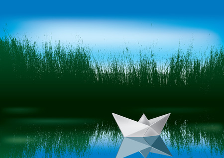 3d boat: paper boat on the water Illustration