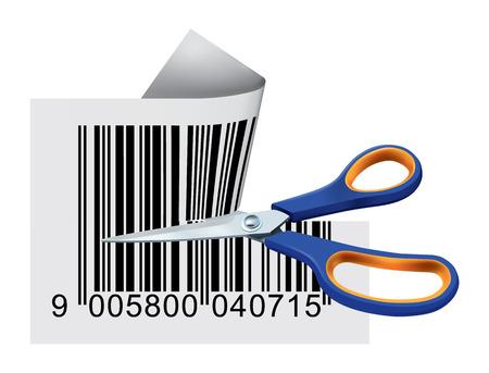 Scissors Cutting Bar Code Illustration