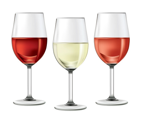glass with red wine: three glasses of wine Illustration