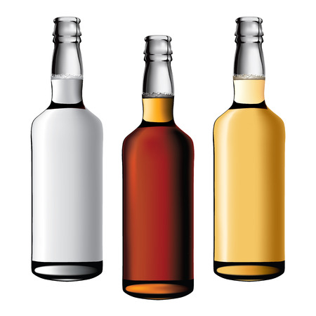 cognac: three bottles of alcohol drinks Illustration