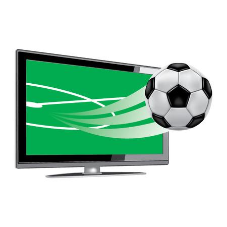soccer on the tv Illustration