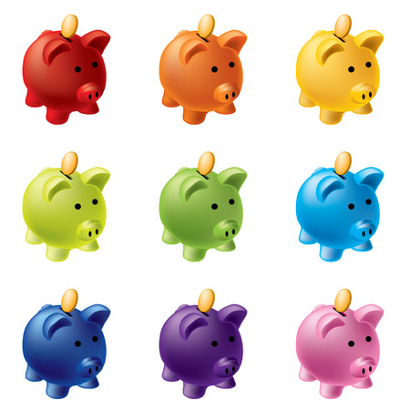 man made object: piggy banks in different colours