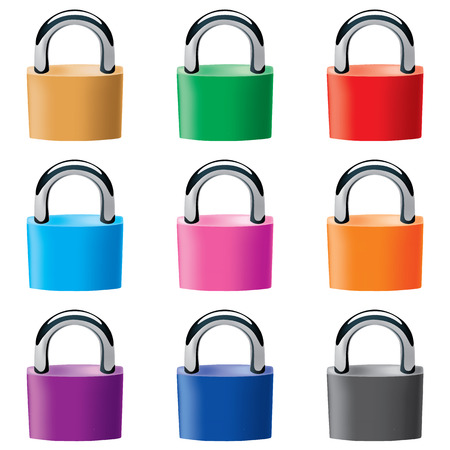 padlocks in diferent colours Stock Vector - 8214904